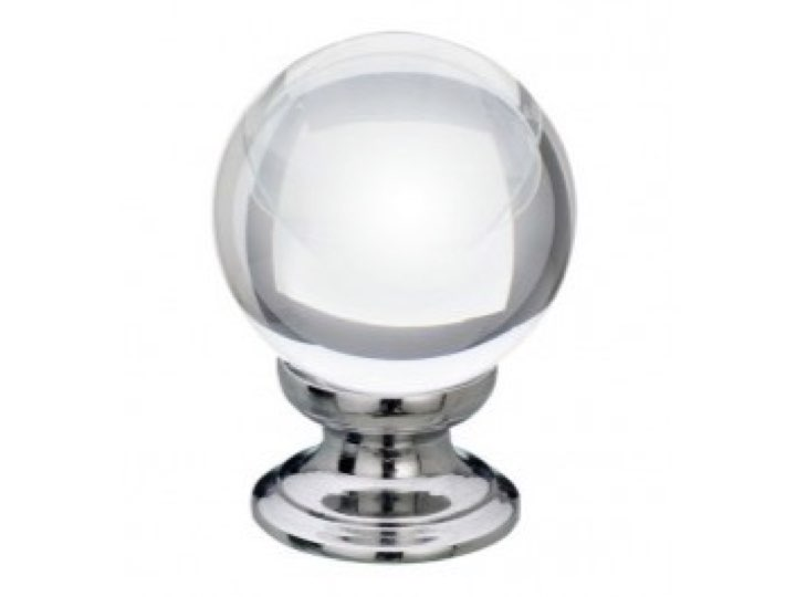 Clear Glass Cupboard Knob 25mm
