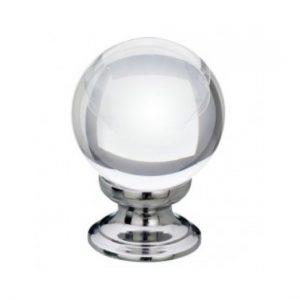 Clear Glass Cupboard Knob 35mm