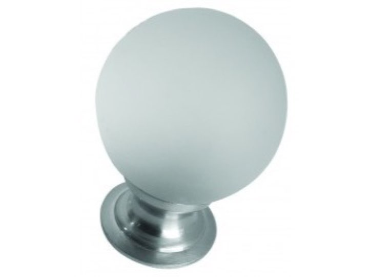 Frosted Glass Cupboard Knob 35mm