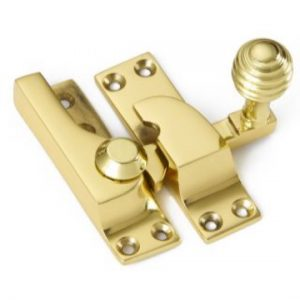 Croft Large Straight Arm Sash Fastener - Reeded Knob