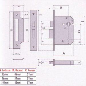 3 Lever Mortice Sashlock - G3000