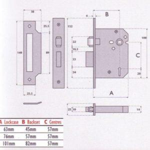 3 Lever Mortice Roller Bolt Sashlock - G3003