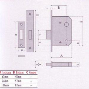 3 Lever Mortice Deadlock - SC3004