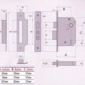 5 Lever Mortice Sashlock - G5000