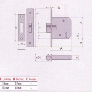 5 Lever Mortice Sliding  Door Lock - G5006