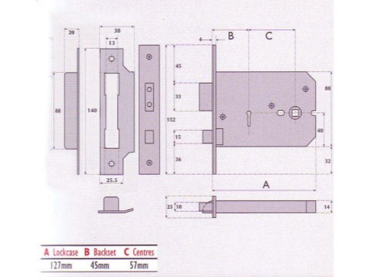 5 Lever Horizontal Mortice Lock- G5011