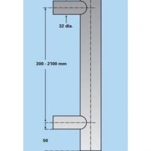 Back to Back Cranked Foot Pull Handle - 300mm