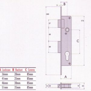 Euro-Profile Cylinder Aluminium Door Mortice Sashlock - S9050