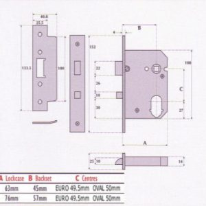 Dual-Profile Cylinder Mortice Night Latch with Anti-Thrust Hole - G7088