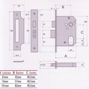 Oval-Profile Cylinder Mortice Sashlock - G7050