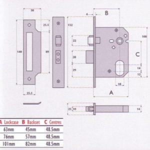 Oval-Profile Cylinder Mortice Roller Bolt Sashlock - G7052