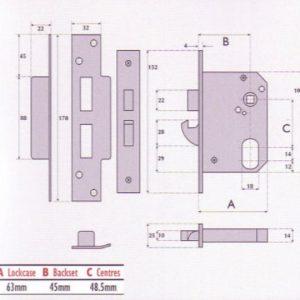 Oval-Profile Cylinder Mortice Hookbolt Sashlock - G7055