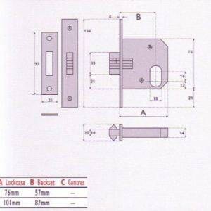 Oval-Profile Cylinder Mortice Sliding Door Lock - G7056