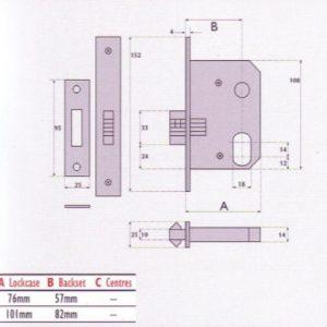Oval-Profile Cylinder Mortice Sliding Door Lock - SC7056