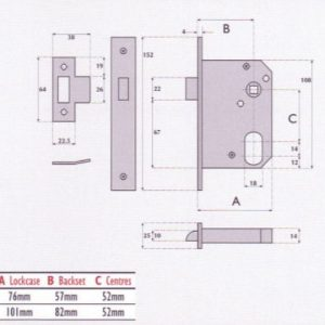 Oval-Profile Cylinder Mortice Night Latch - G7058HB