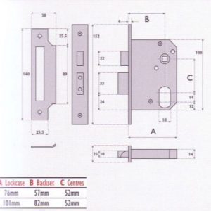 Oval-Profile Cylinder Mortice Night Latch - G7060