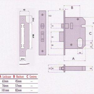 Oval-Profile Cylinder Mortice Heavy Duty Roller Bolt Deadlock - G7172