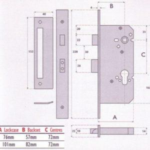 Euro-Profile Cylinder Mortice Sashlock - G72-3000