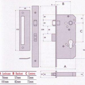Euro-Profile Cylinder Roller Bolt Mortice Sashlock - G72-7002