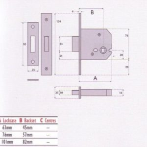 Bathroom Mortice Deadbolt - G8023