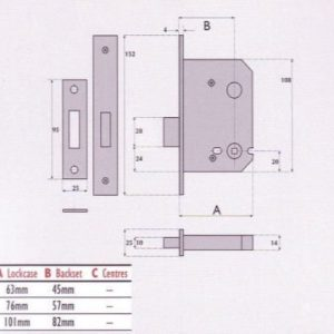 Bathroom Mortice Deadbolt - SC8023
