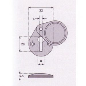 Covered Keyhole Escutcheon - G9513
