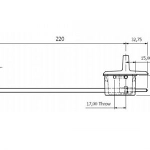 Anza Recessed Door Bolt Fire Rated - 220mm