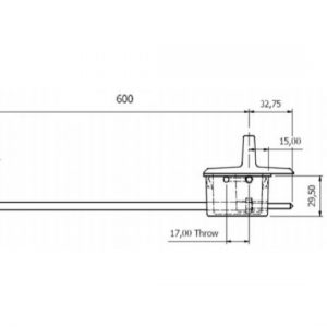 Anza Recessed Door Bolt Fire Rated - 600mm