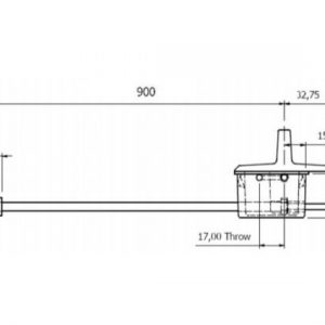 Anza Recessed Door Bolt Fire Rated - 900mm