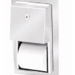 Recessed mounting twin toilet roll dispenser
