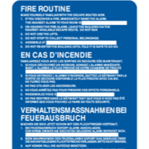 Fire Action (three languages for hotels)