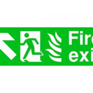 Fire Exit Running Man Arrow Top Left