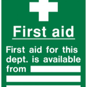 First Aid (Available from the dept)