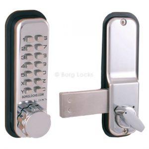 Knurled knob keypad, inside rim fixed SS deadbolt