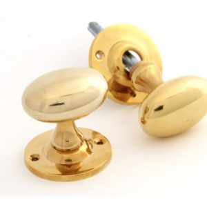 Polished Brass Oval Mortice/Rim Knob Set